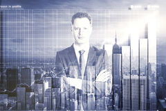 Double explosure with businessman and city view with business ch. Art, close up Royalty Free Stock Photography