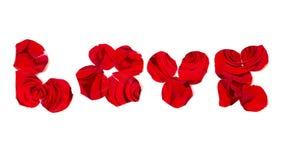 Double exposition : Aimez l'inscription, prise des pétales de rose et du fond des roses Images stock