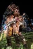 Double exposition avec la vue en dehors du Colosseum et des gladiateurs i Photo libre de droits