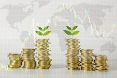 Double exposition avec le graphique croissant d'index de marché boursier financier Photographie stock
