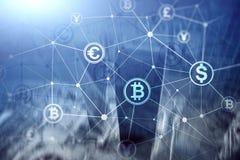 Double exposition Bitcoin et concept de blockchain Économie de Digital et commerce de devise illustration stock
