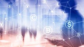 Double exposition Bitcoin et concept de blockchain Économie de Digital et commerce de devise photographie stock libre de droits