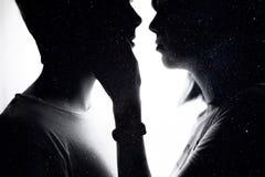 Double exposition de beaux couples romantiques Image libre de droits
