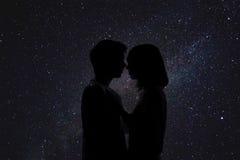 Double exposition de beaux couples romantiques Photographie stock libre de droits
