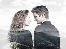 Double exposition de beaux jeunes couples image libre de droits