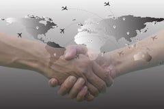 Double exposition de la coordination de mains image libre de droits