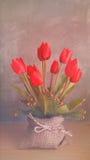 Double exposition de la fleur et du fond d'amour Photographie stock