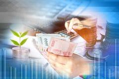 Double exposition de la main de femme d'affaires tenant l'argent calculant avec une certains pièce de monnaie et arbre s'élevant, Image stock