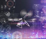 Double exposition, vol à télécommande moderne de bourdon d'air avec l'appareil-photo d'action Sur le fond noir 3d Image libre de droits