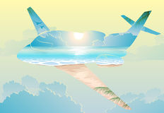Double exposure, airplane flight on exotic islands Royalty Free Stock Images