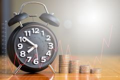 Double exposure of Alarm clock and step of coins stacks on working table with financial graph chart, time for savings money. Concept, banking and business idea stock images