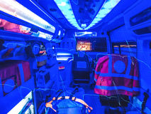 Double exposure of an ambulance  and ECG Stock Photo