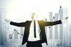 American businessman with growth finance graph Royalty Free Stock Photo