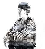 Double exposure asian man and city buildings Royalty Free Stock Photos