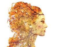 Double exposure autumn portrait Stock Photos