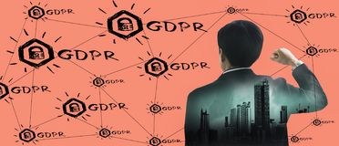 Double exposure-back rear view young businessman standing hand raised,icon GDPR,pink background,concept retention personal data EU royalty free stock photos