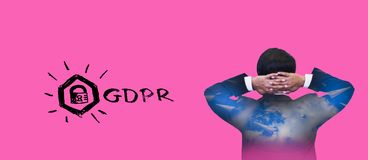 Double exposure-back rear view young businessman standing hand raised,icon GDPR,pink background,concept retention personal data EU royalty free stock photography