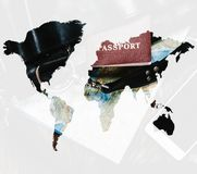 Double exposure of passport with map of world. royalty free stock images