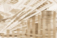 Double exposure banknotes, Stock market and graph on rows of coins for finance and banking , investments, trading, chart. Digital economy concept stock photography