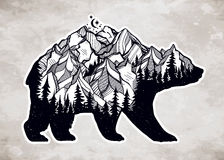 Double exposure bear with mountains landscape. Stock Photo