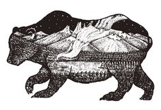 Double exposure. bear with mountains, space and forest. Abstract wild animal for tattoo or label. Vintage style stock illustration