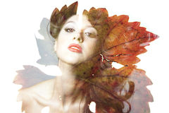 Double exposure of beautiful caucasian woman. stock image