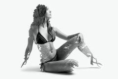 Double exposure of beautiful caucasian woman. stock photography
