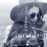 Double exposure,Beautiful girl and cityscape. Royalty Free Stock Photos