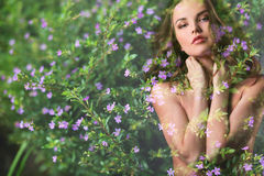 Double Exposure. Beautiful woman and flowers. Royalty Free Stock Photography