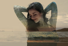 Double exposure of beautiful woman mixed with sunset nature and. Sea. Magic art toned portrait stock image