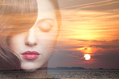 Double exposure of beauty young woman dreaming. Double exposure portrait of beauty young woman dreaming Royalty Free Stock Images