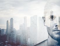Double exposure  black and white portrait  man Royalty Free Stock Image