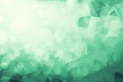Double exposure of bokeh light and Green Low Poly trangular tren Stock Image