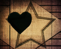 Double exposure of brown wooden star with rhombus Royalty Free Stock Photo