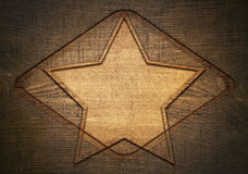 Double exposure of brown wooden star with rhombus Stock Images