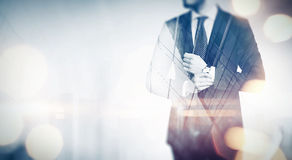 Double exposure business concept. With special lighting effects Royalty Free Stock Photo