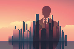 Double exposure business concept vector background. Businessman in front of modern corporate city skyline. Stock Photos