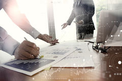 Double exposure of business documents on office table Royalty Free Stock Photography