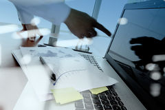 Double exposure of business documents on office table Royalty Free Stock Images