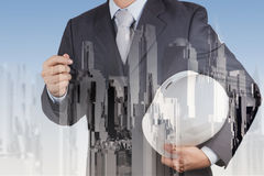 Double exposure of business engineer Stock Photo