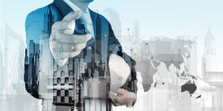 Double exposure of business engineer Royalty Free Stock Photo