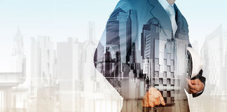 Double exposure of business engineer Royalty Free Stock Photos
