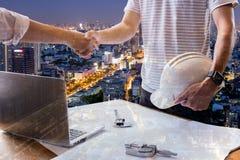 Double exposure business engineer construction agreement success Stock Photos