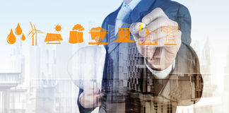 Double exposure of business engineer Royalty Free Stock Photography