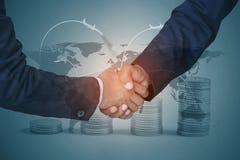 Double exposure of Business handshake royalty free stock photo