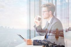 Double exposure of business man, ambitious plans. Double exposure of business man and London skyline cityscape Stock Photo