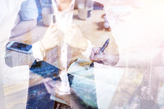 double exposure of business man with Business team standing hand Stock Photos