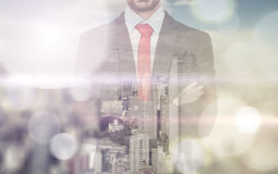 Double exposure with business Stock Photography