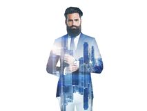 Double exposure of business man and city Royalty Free Stock Photo