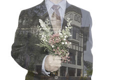 Double exposure of business man hand Royalty Free Stock Photography